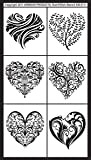 Armour Rub N Etch Stencil, Fancy Hearts