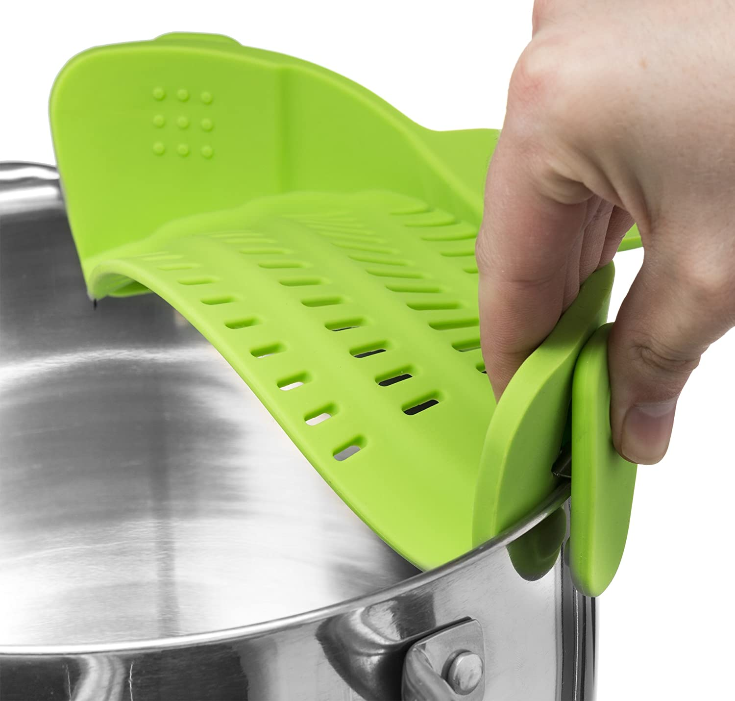Snap N Strain Strainer Clip On Silicone Colander Fits All