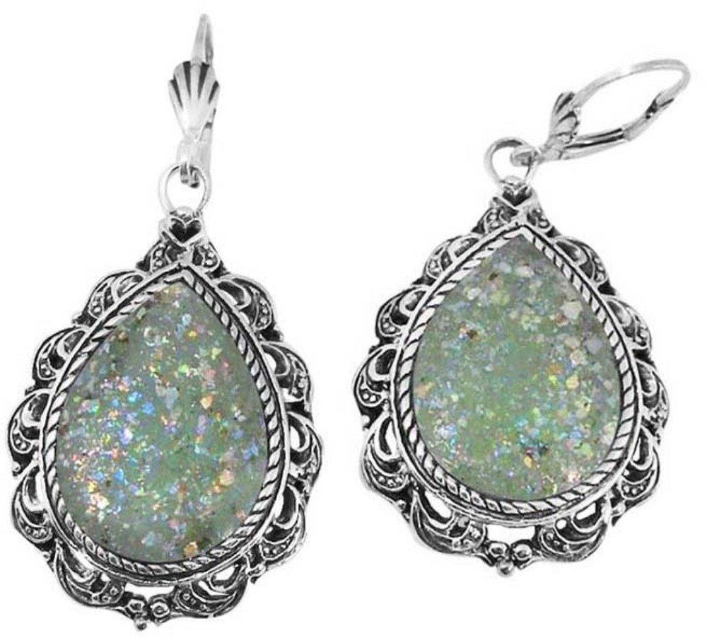 Sterling Silver Earrings with 2,000 Year Old Roman Glass (BTS-NEA2132/RG) by BillyTheTree Gemstone Jewelry