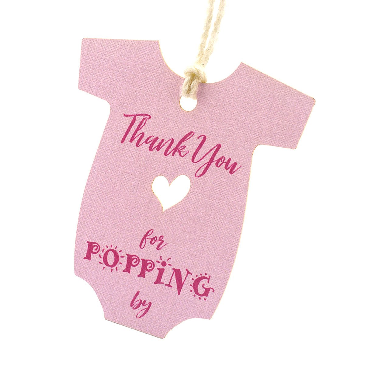 Pink Summer-Ray 50pcs Baby Onesie Baby Shower Favor Thank You Tags Thank You for Popping