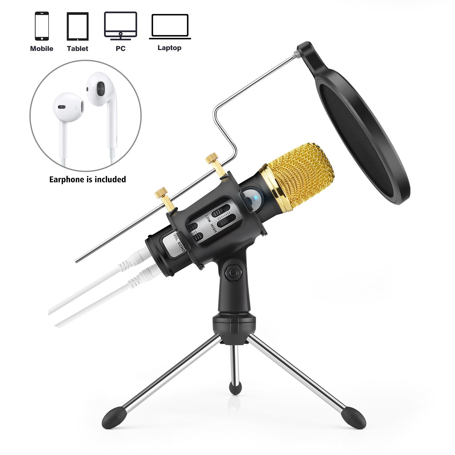 FerBuee Professional Condenser Microphone for iPhone Android Phone Recording Echo Karaoke Singing Built-in Sound Card MIC Computer PC Microphones with MIC Stand