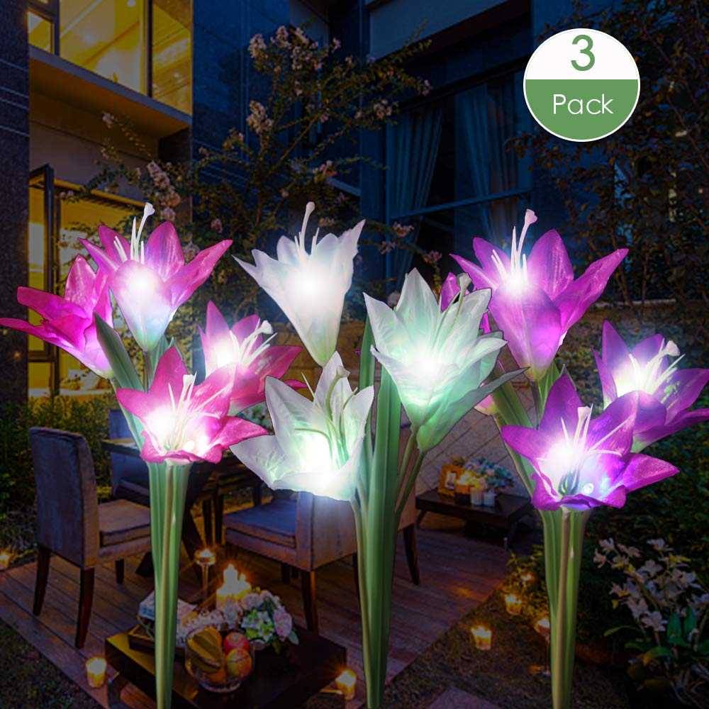 Dapai Solar Flowers Garden Light LED Garden Decorations Light Outdoor Solar Powered Yard Art Waterproof Color Changing Lily Flowers Garden Yard Patio Decorations 3 Pack