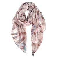 GERINLY Colorful Feathers Print Scarf Womens Fashion Soft Shawls