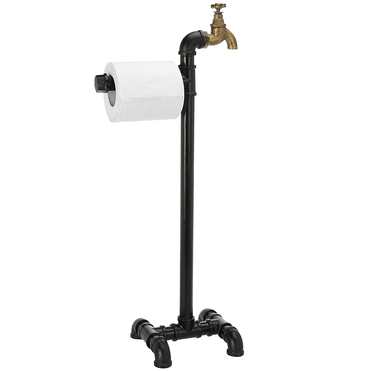 MyGift Freestanding Industrial Metal Pipe /& Spout Toilet Paper Roll Holder