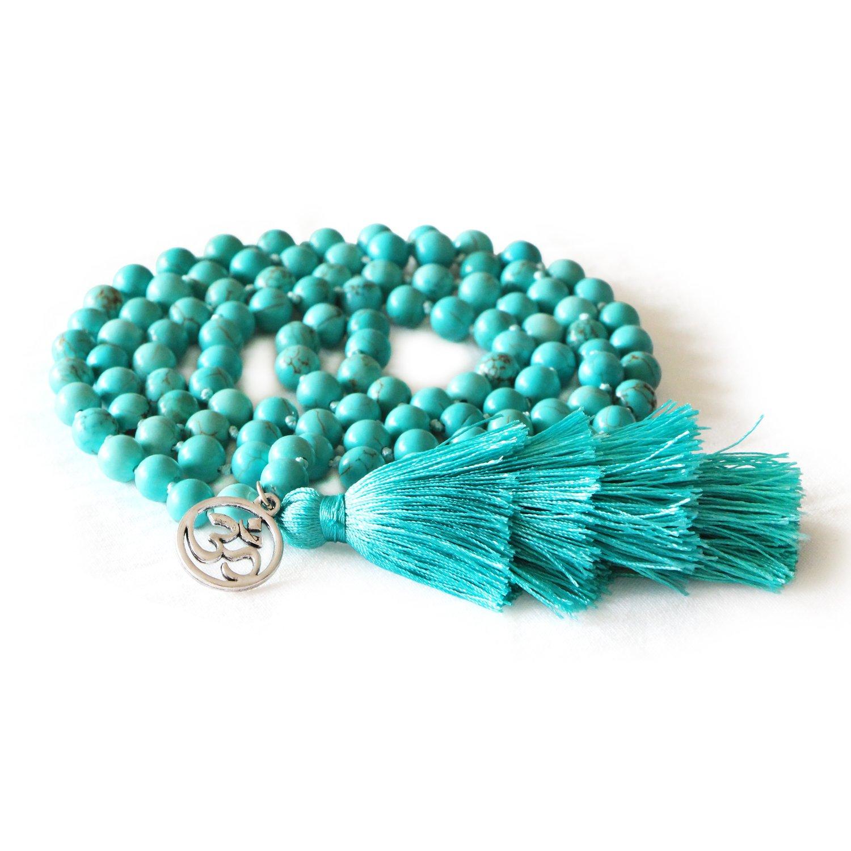 MHZ JEWELS Turquoise Mala Beads Necklace Bracelet Gemstone Prayer Beaded Meditation Yoga Necklace for Women by MHZ JEWELS (Image #2)