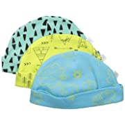 Rosie Pope Baby 3-Pack Adventure Into The Wild Caps, Bachelor Button, 3-6 Months