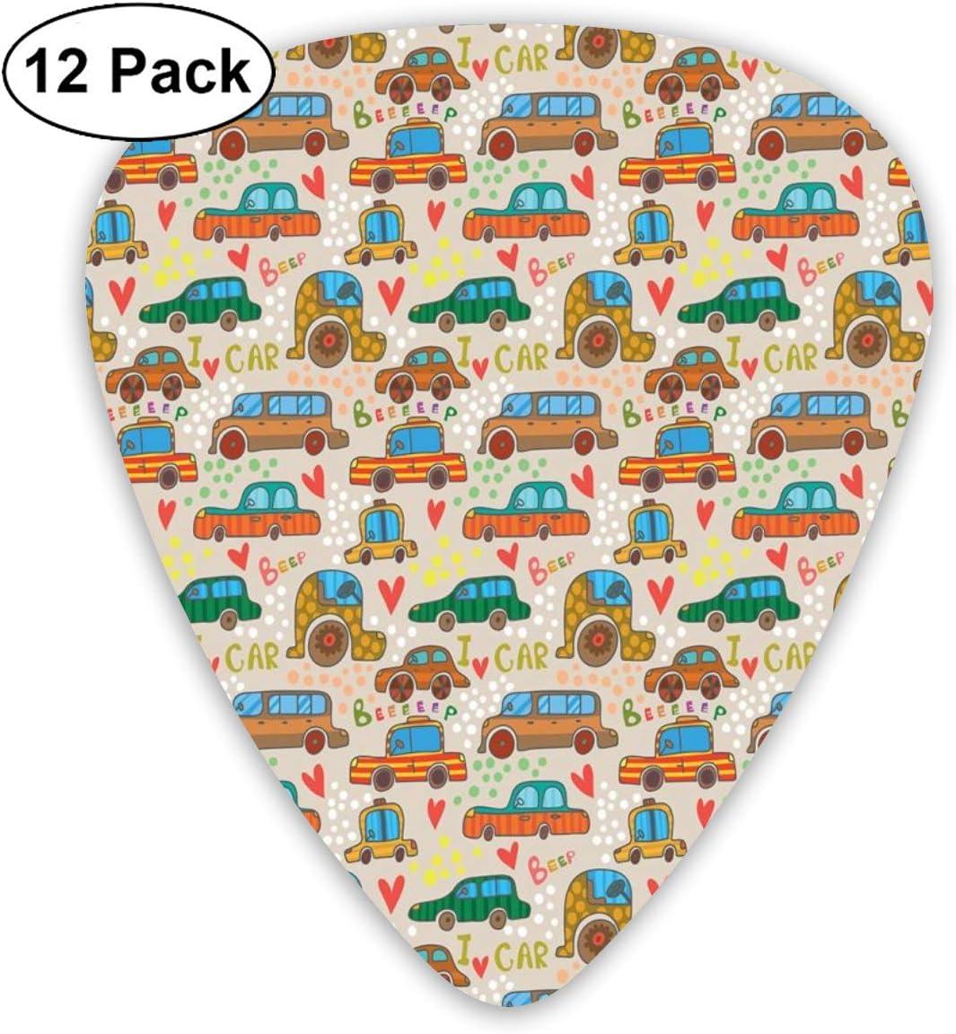 Guitar Picks 12-Pack,Cute Cartoon Style Car Pattern Children ...