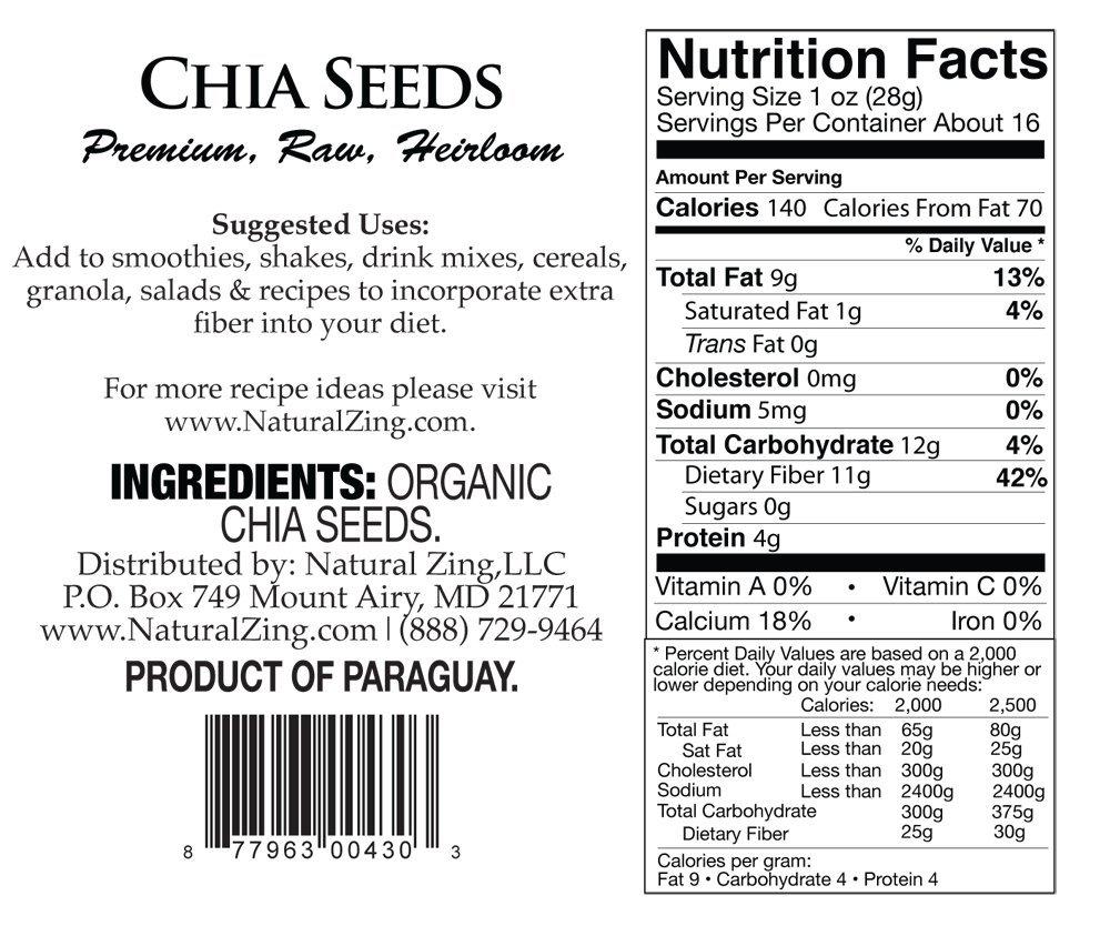Semillas de Chia (Raw, orgánico, Heirloom) 16 oz: Amazon.com ...