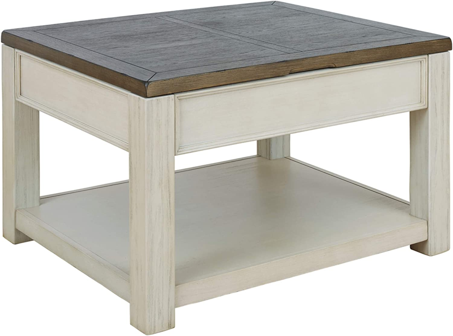 Signature Design by Ashley - Bolanburg Lift Top Cocktail Table w/ Fixed Shelf, Brown/White