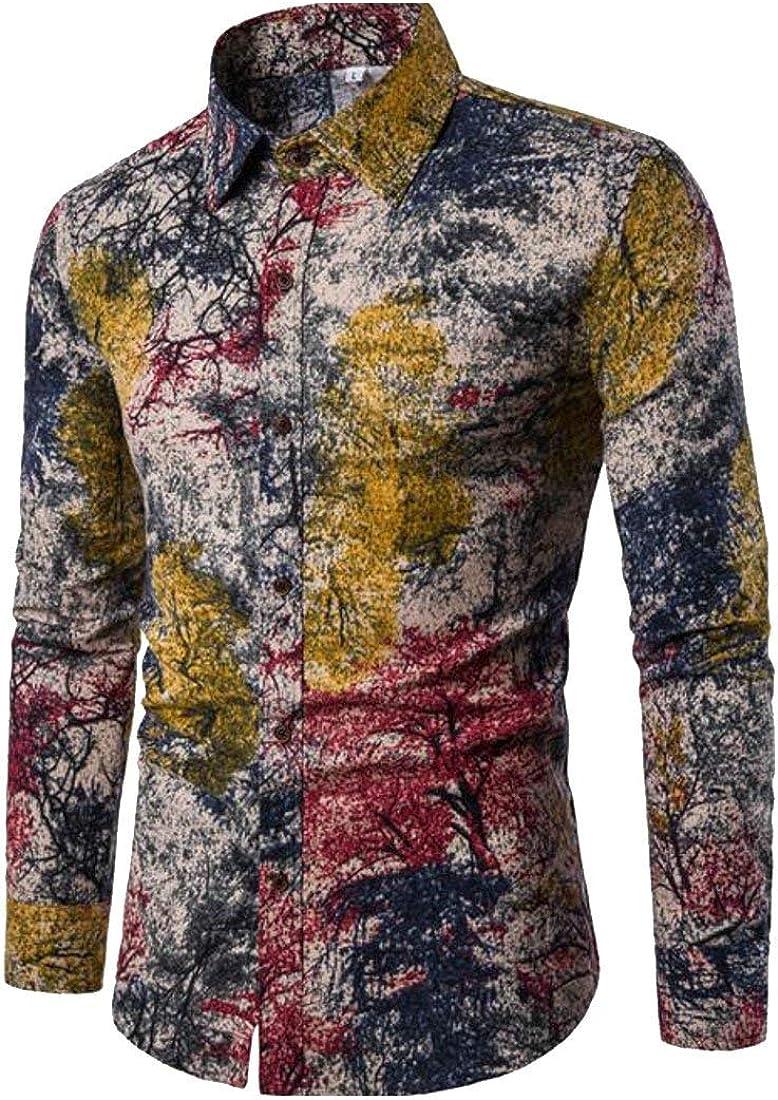 Alion Mens Fashion Pattern Print Casual Long Sleeve Button Down Lapel Shirt 5 XXL