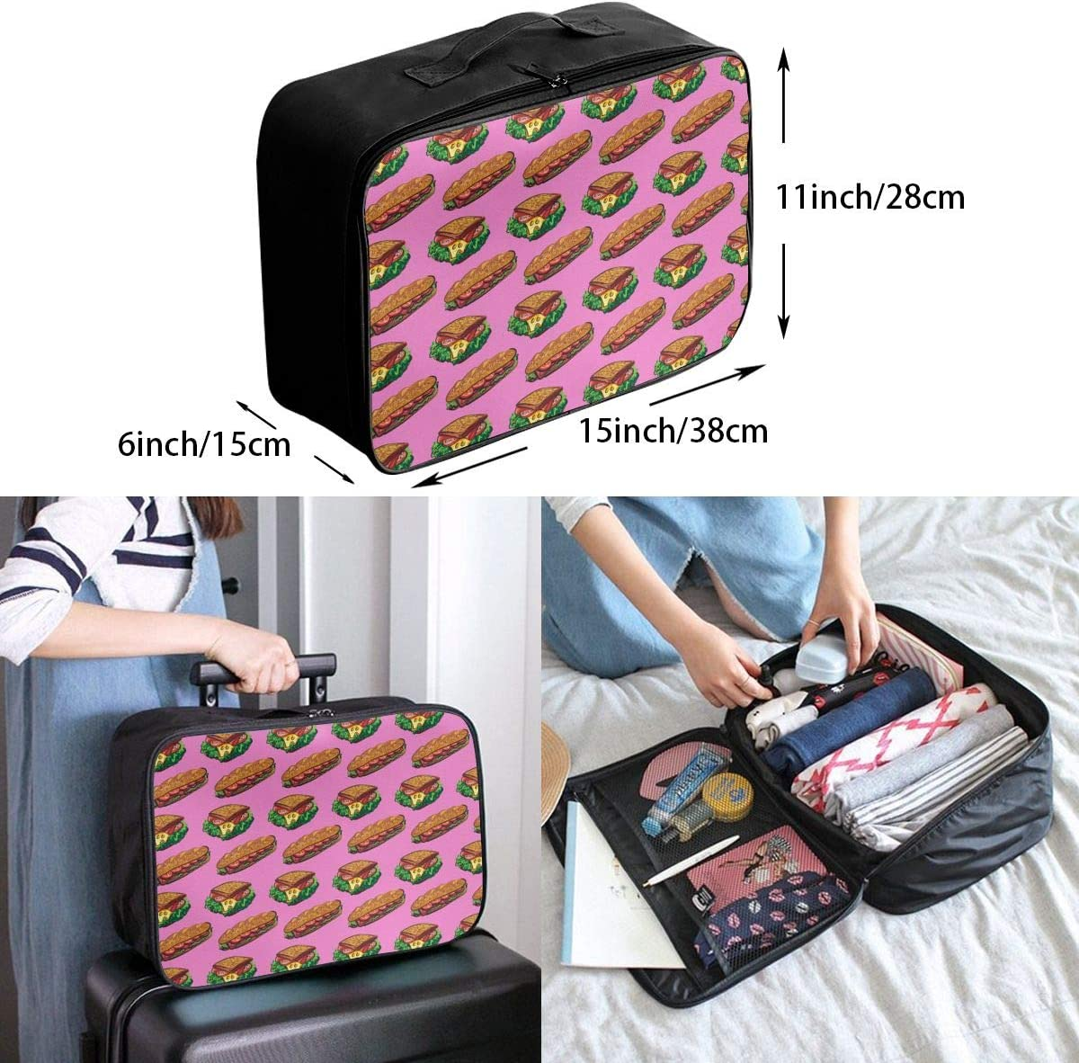 YueLJB Sandwich Pattern Lightweight Large Capacity Portable Luggage Bag Travel Duffel Bag Storage Carry Luggage Duffle Tote Bag