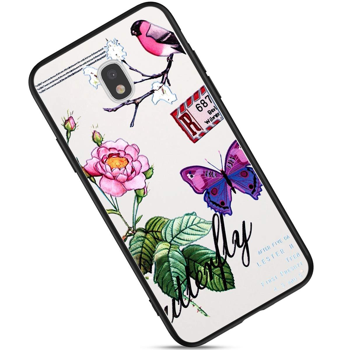 Custodia Compatibile con Samsung Galaxy J3 2017 J330 Cover Silicone Morbido,Brillantini Fiori Farfalla Cover Painted Pattern Bianca Silicone TPU e PC Ultra Slim Sottile Anti-Scratch Case