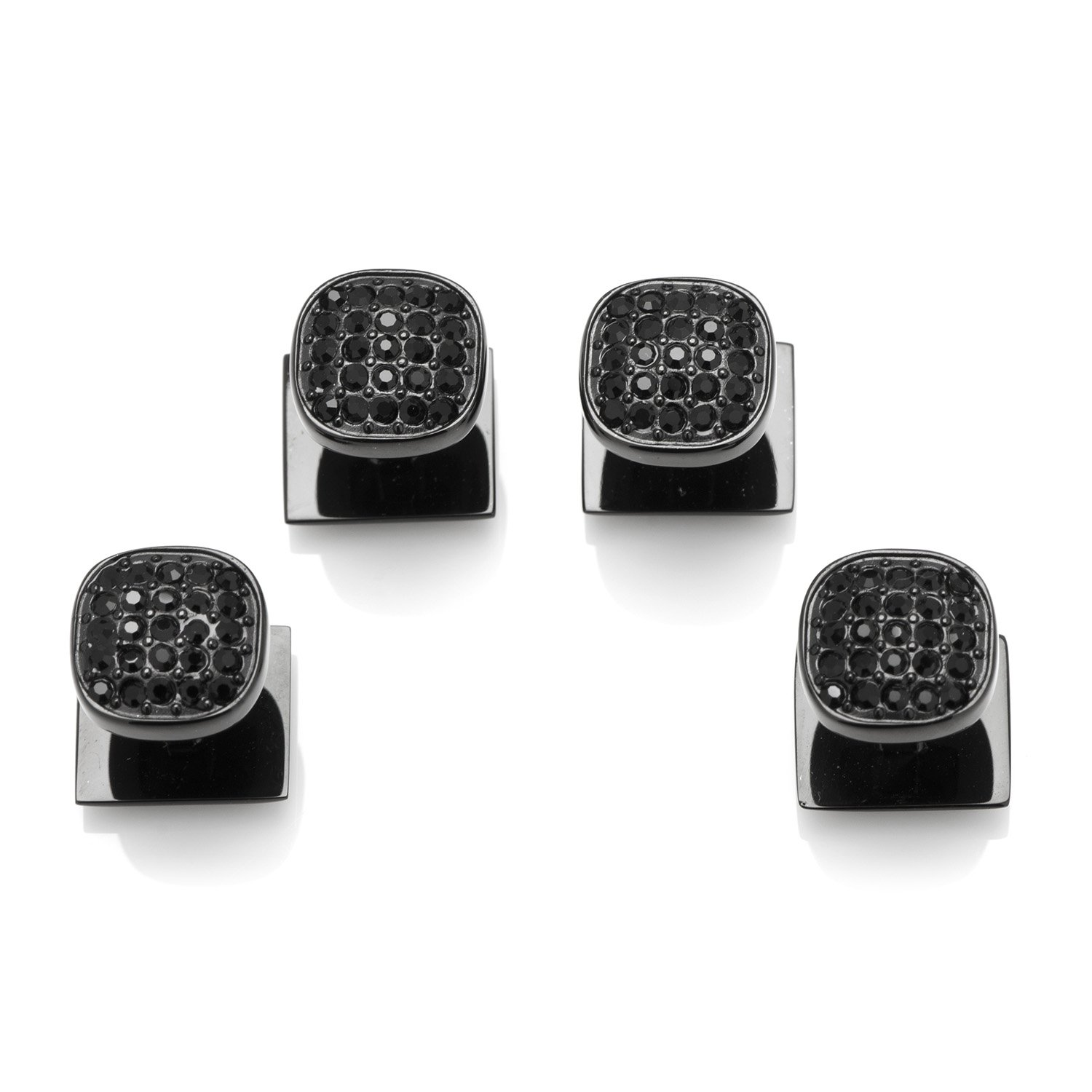 Ox and Bull Trading Co. Black Stainless Steel Black Pave Crystal Studs