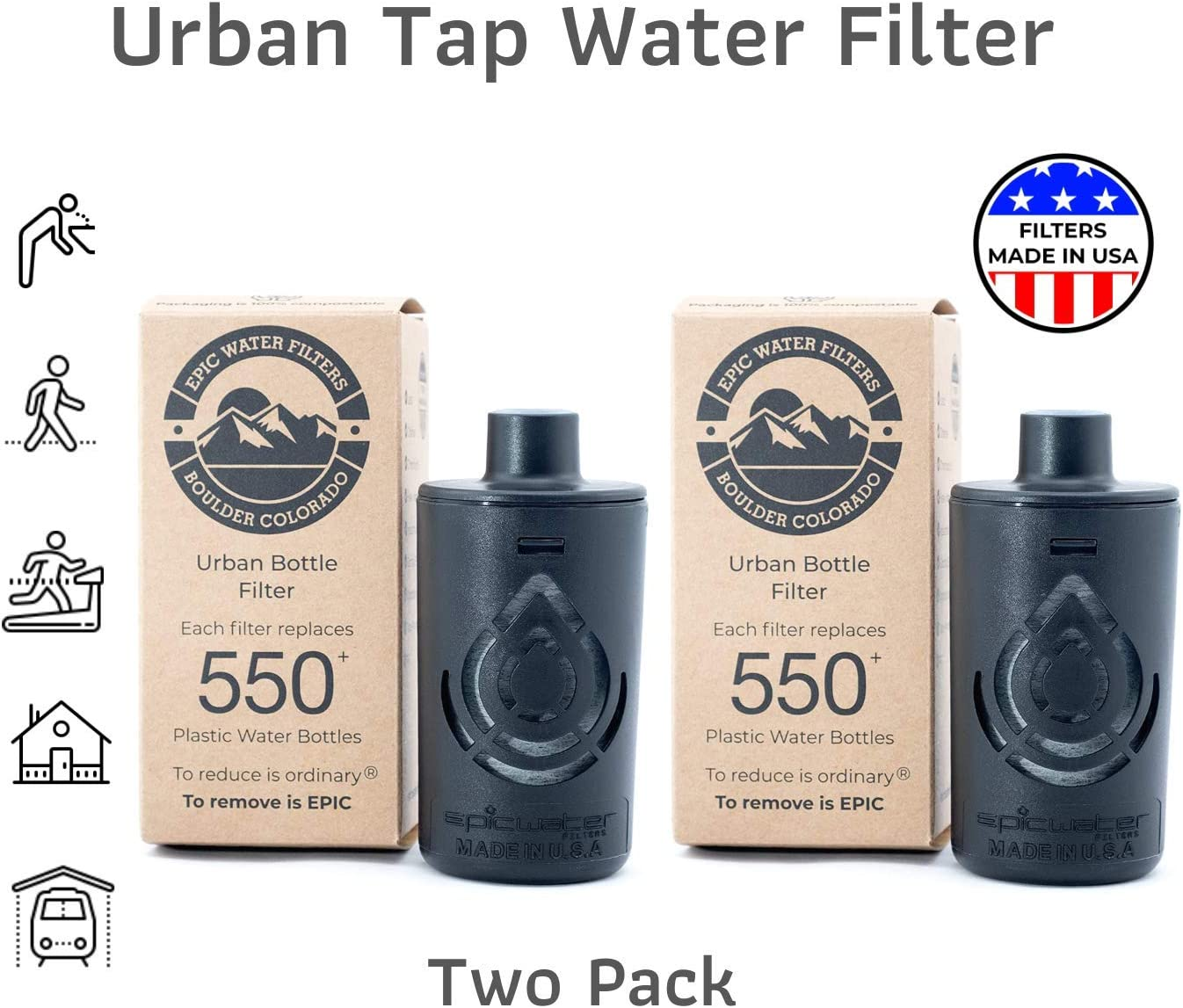 Epic Urban Bottle Multi Pack Filters | Replacement Filter for Naglene OG, Escape, Kiddo, The Answer (Hydro Flask, Nalgene Compatible) | 4-Month Filter Life | Removes Chlorine, Lead, PFC & More