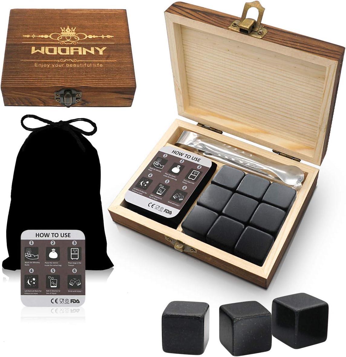 Whiskey Stones Gift Box Set 9PC Whiskey Stones in Luxury Wooden Gift Box