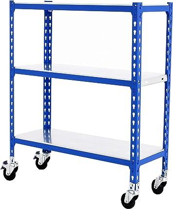 Estantería metálica sin tornillos con ruedas Simonclick de 3 estantes Azul/Galva Simonrack 900x1100x300