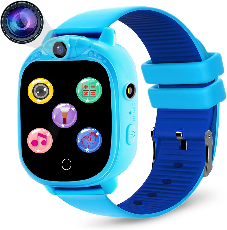 Prograce Kids Smartwatch Digitalkamera Uhr Mit Spielen Musik Player Schrittzähler Schrittzähler Fm Radios Taschenlampen Und 3 8 Cm Touch Lcd Für Jungen Mädchen Geburtstag Blau Spielzeug