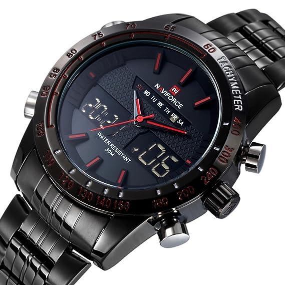 Qingmei Naviforce Reloj para Hombres analógico digital, con LED, diseño deportivo, correa de acero inoxidable, color rojo: Amazon.es: Relojes