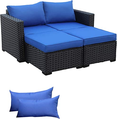 3-Piece Patio PE Rattan Conversation Furniture Set Outdoor PE Wicker Sectional Loveseat and Ottoman Sofa Set