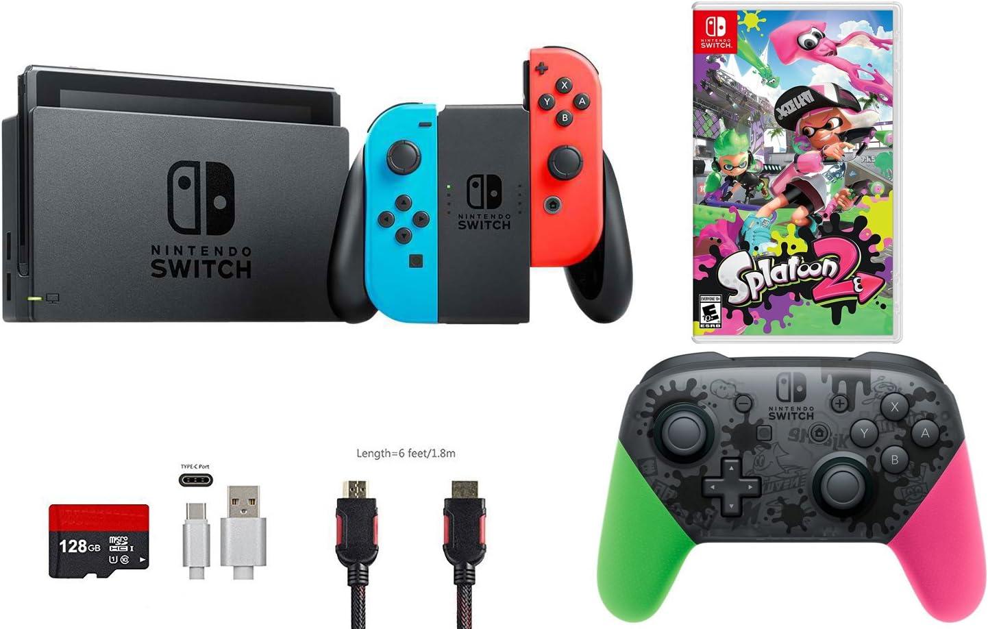 Nintendo Interruptor Paquete De (7 artículos): 32 GB Consola neón ...