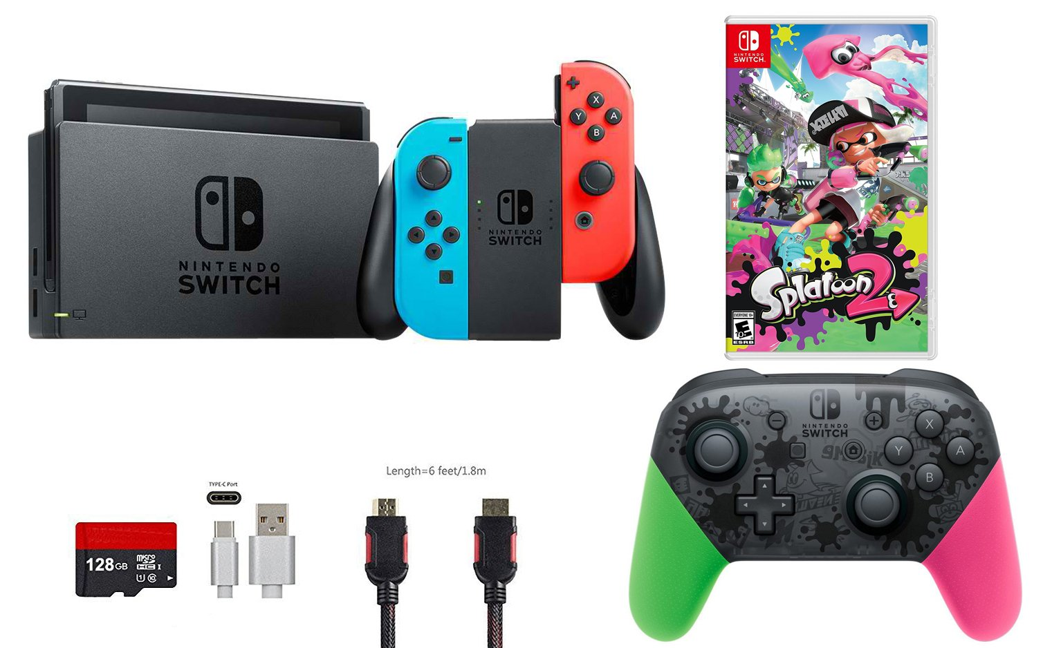 Nintendo Switch Bundle (7 items): 32GB Console Neon Red Blue Joy-con, Nintendo Switch Pro Controller Splatoon 2 Edition, Game Disc-Splatoon 2, 128GB Micro SD Card, Type C Cable, HDMI Wall Charger