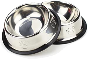 Bettli Pet Food Bowl Stainless Steel Non Skid Pet Paws Doodler Dish is Perfect for a Small Dog Cat Kitten Puppy (2 Bowls per Order)