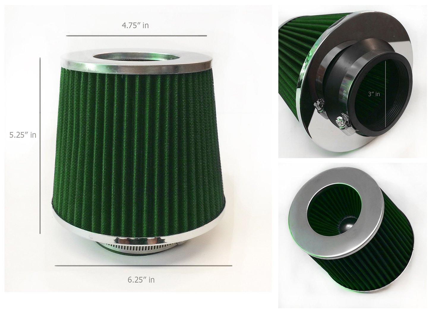 3'' Inlet (76mm) Cold Air Intake Short Ram Intake Chrome Open Top Air Filter Universal (Green)