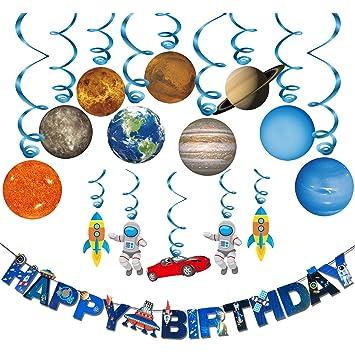 """Konsait Sistema Solar Decoración Colgante remolinos y Bandera Banderines """" Happy Birthday"""" para Bebés Infantiles Niños Cumpleaños Fiesta Decoración ..."""