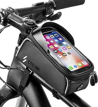 impermeabile Borsa per telaio da bicicletta per bicicletta con tubo anteriore borsa porta cellulare con touch screen in TPU per smartphone al di sotto di 6,1