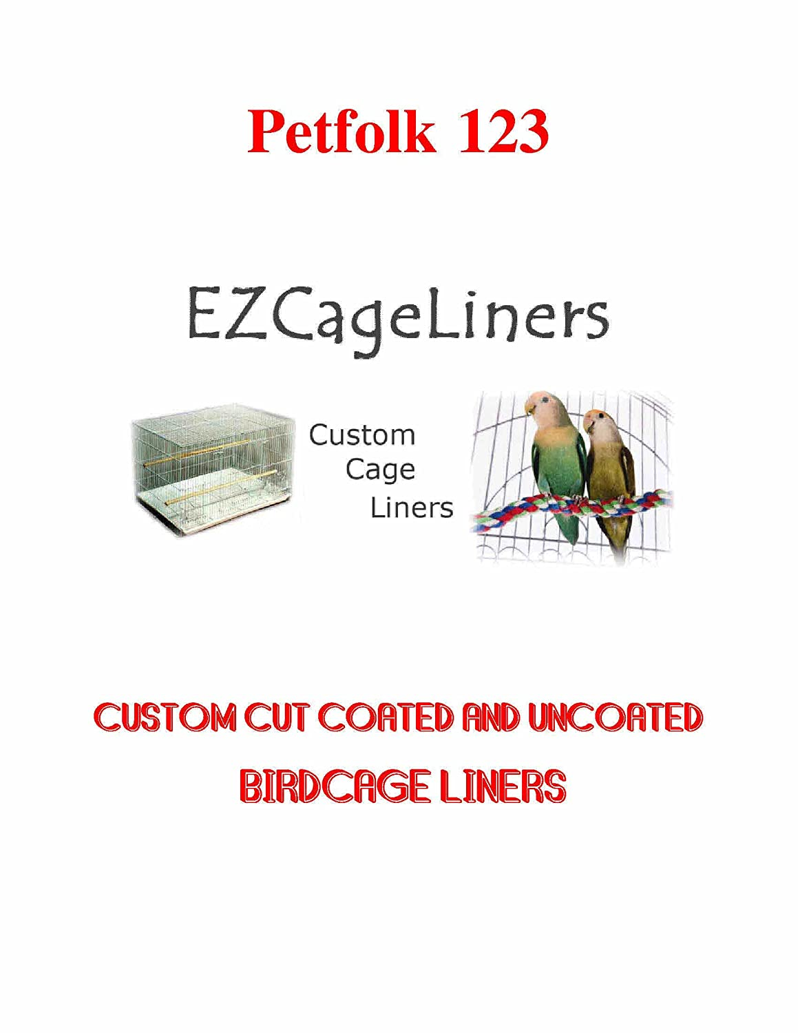 Bird Cage Liner EZ Cageliners Bird Cage Liners Plain and Coated Custom Cut to Order 150 Sheets Perfolk