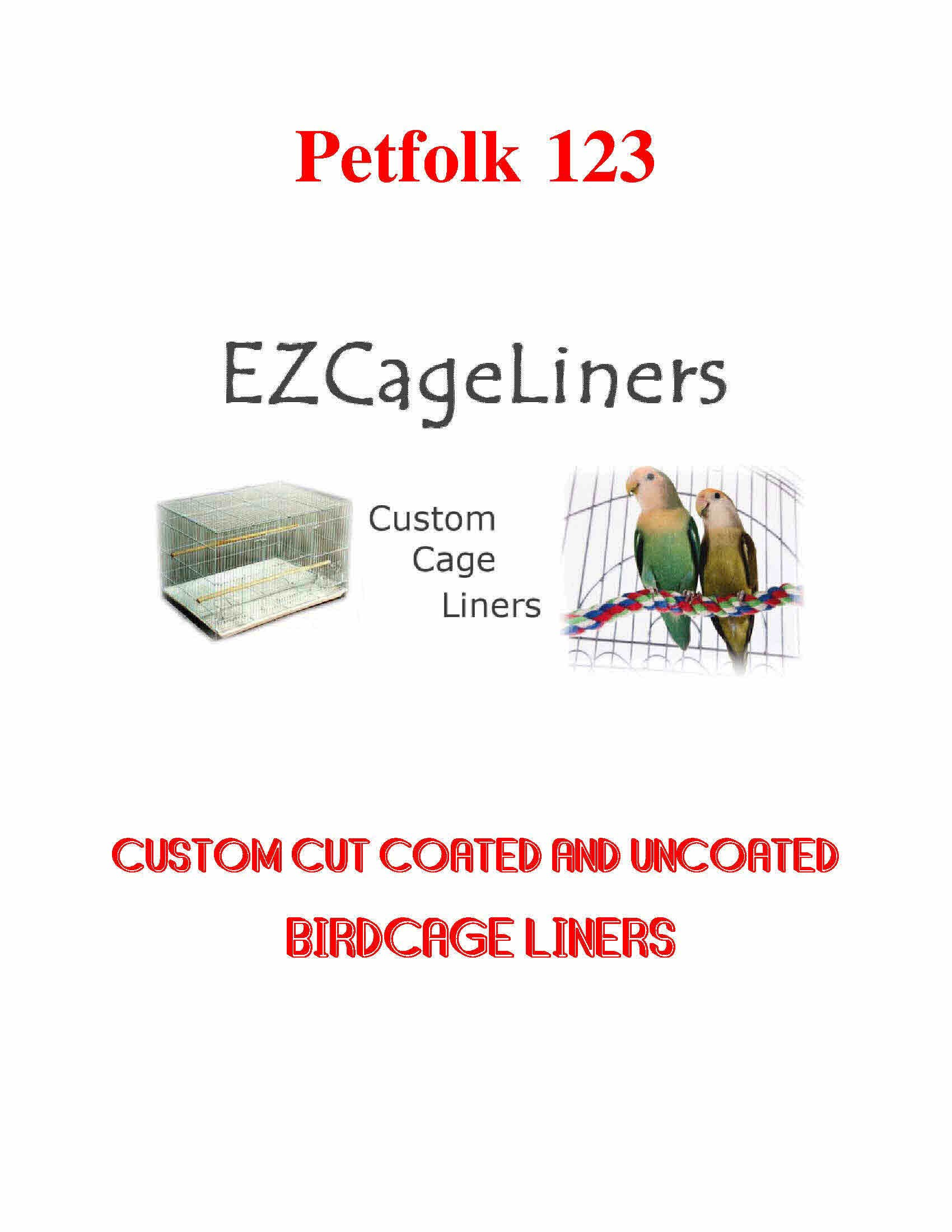 Bird Cage Liner EZ Cageliners Bird Cage Liners Plain and Coated Custom Cut to Order 150 Sheets (Plain up to 23x35) by EZ Cage