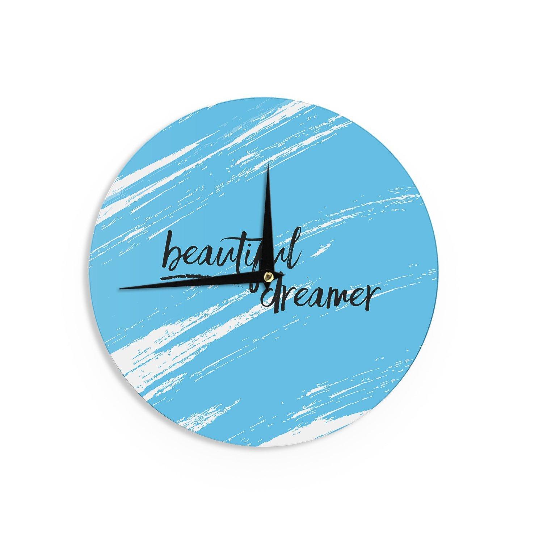 Kess InHouse NL Designs Beautiful Dreamer Blue Typography Wall Clock 12-Inch