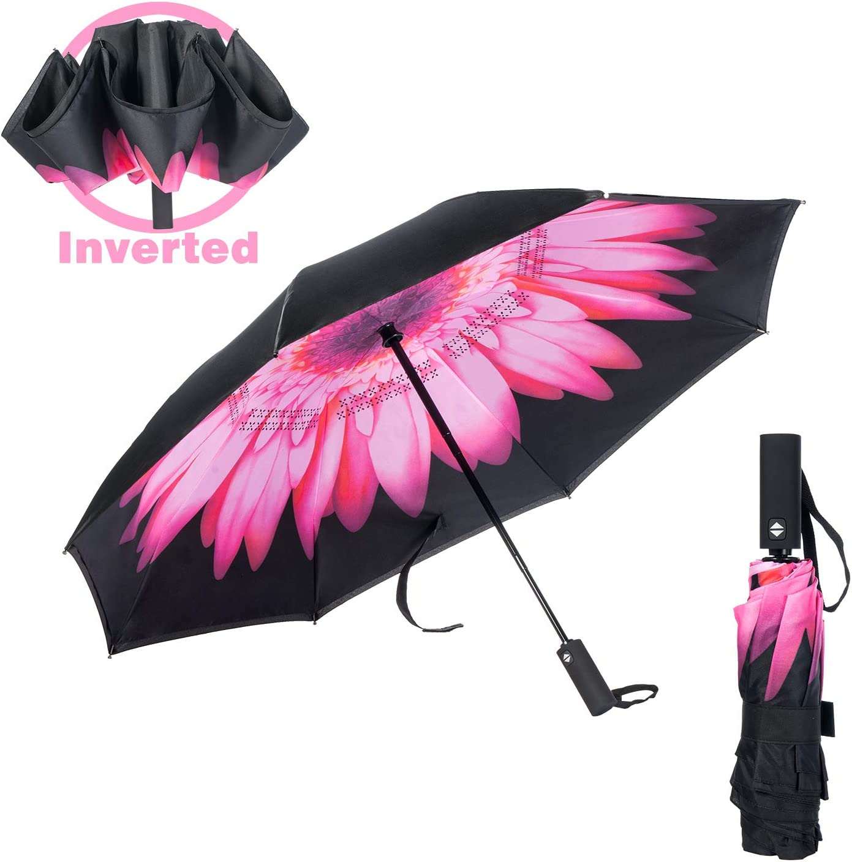 Cooloutdoors Automatic Umbrella, Double Layer 8Ribs Inverted Umbrella/Windproof Umbrella, Anti-UV Waterproof Straight Umbrella for Car Rain Outdoor Use