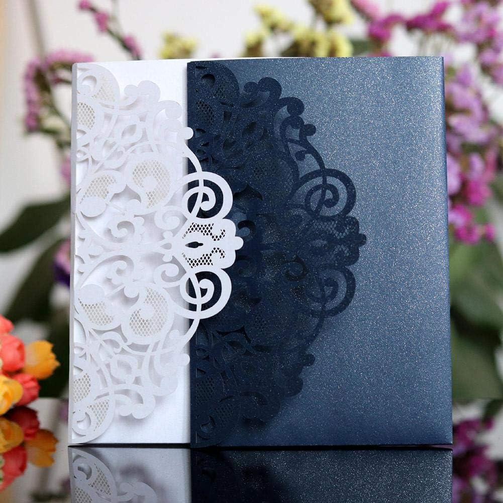 Laser Cut Delicato Intagliato in Pizzo Piegato a Tre Carte per inviti di Nozze per Fidanzamento Matrimonio Matrimonio Festa di Compleanno 10 Pezzi Navigatee Inviti per la Festa di Nozze