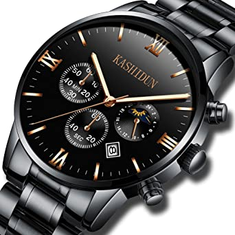 KASHIDUN Mens Watches Luxury Sports Military Quartz Wristwatches Waterproof Chronograph Black Watches ZH-JzHG
