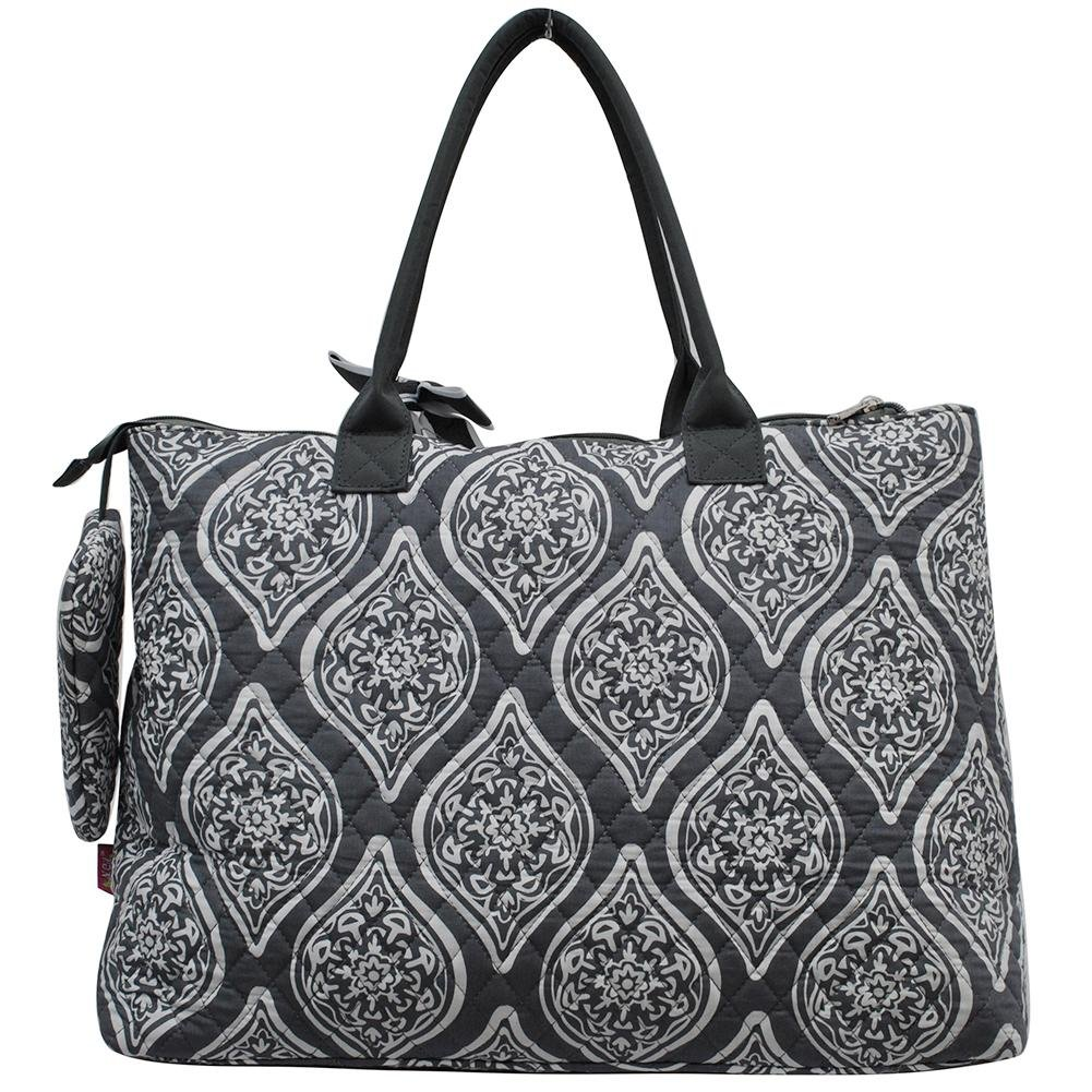 NGIL Quilted Cotton Extra Large Overnight School Tote Bag 2018 Spring Collection (Marquise in Bloom Grey) by NGIL (Image #3)