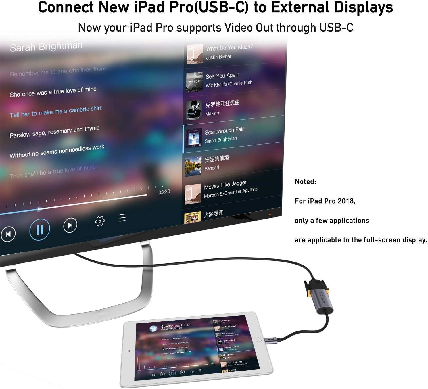Dell XPS Surface Book kompatibel Thunderbolt 3 QGeeM USB C auf VGA Adapterkabel kompatibel f/ür MacBook Pro 2019//2018//2017 MacBook Air//iPad Pro 2019//2018 VGA auf USB Typ C Adapter