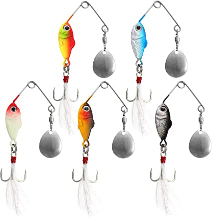 5pcs Spoon Fishing Lures Metal Hard Spinner Baits with Feather Treble Hooks