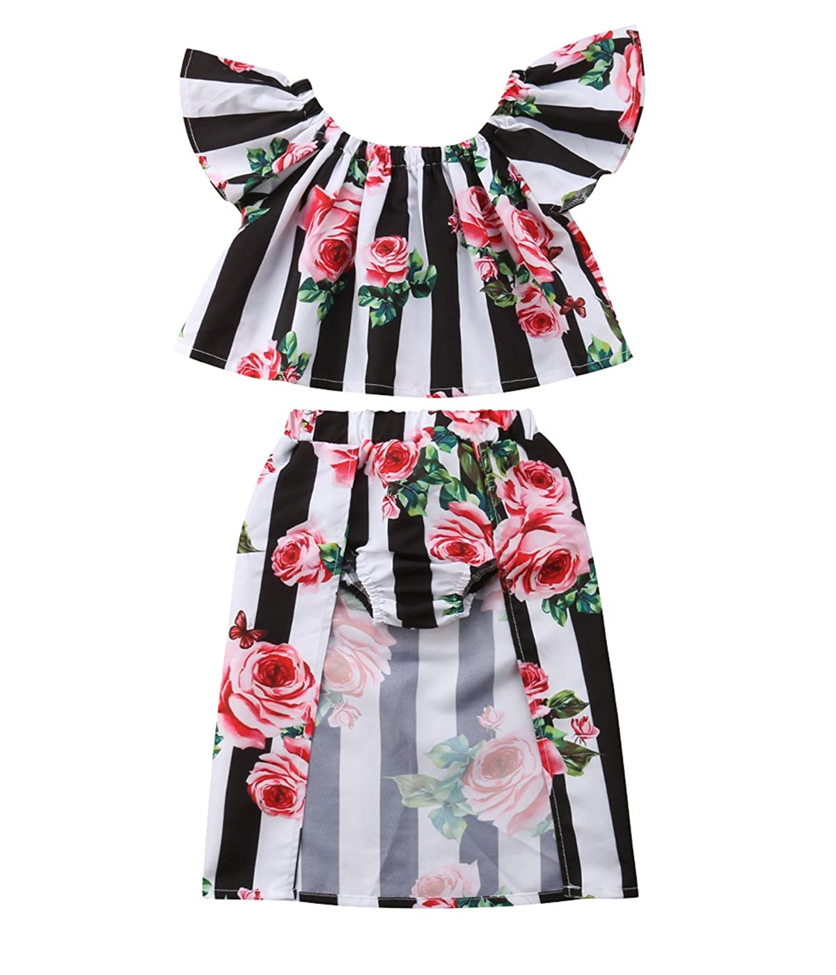 Newborn Toddler Baby Girls Off Shoulder Floral Crop Top+Stripe Shorts Skirt Summer Outfits