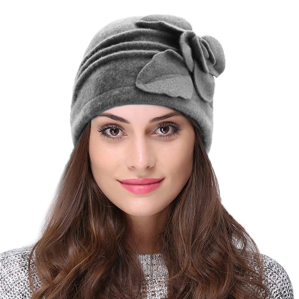 Vbiger Caliente Sombrero para Invierno Gorro de Lana con Flor de Decoración para Mujer (Gris)