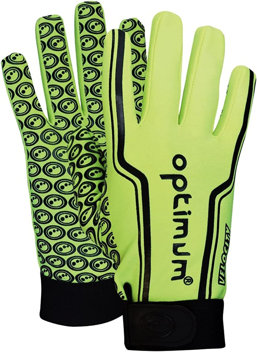 OPTIMUM VELOCITY FULL FINGER THERMAL RUGBY GLOVES HAND PROTECTION STIK MITTS RED