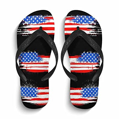 ee27d55c08bc MingDe Sports Mens American Flag Flip Flops Non-Slip Shower Pool Beach  House Home Thong