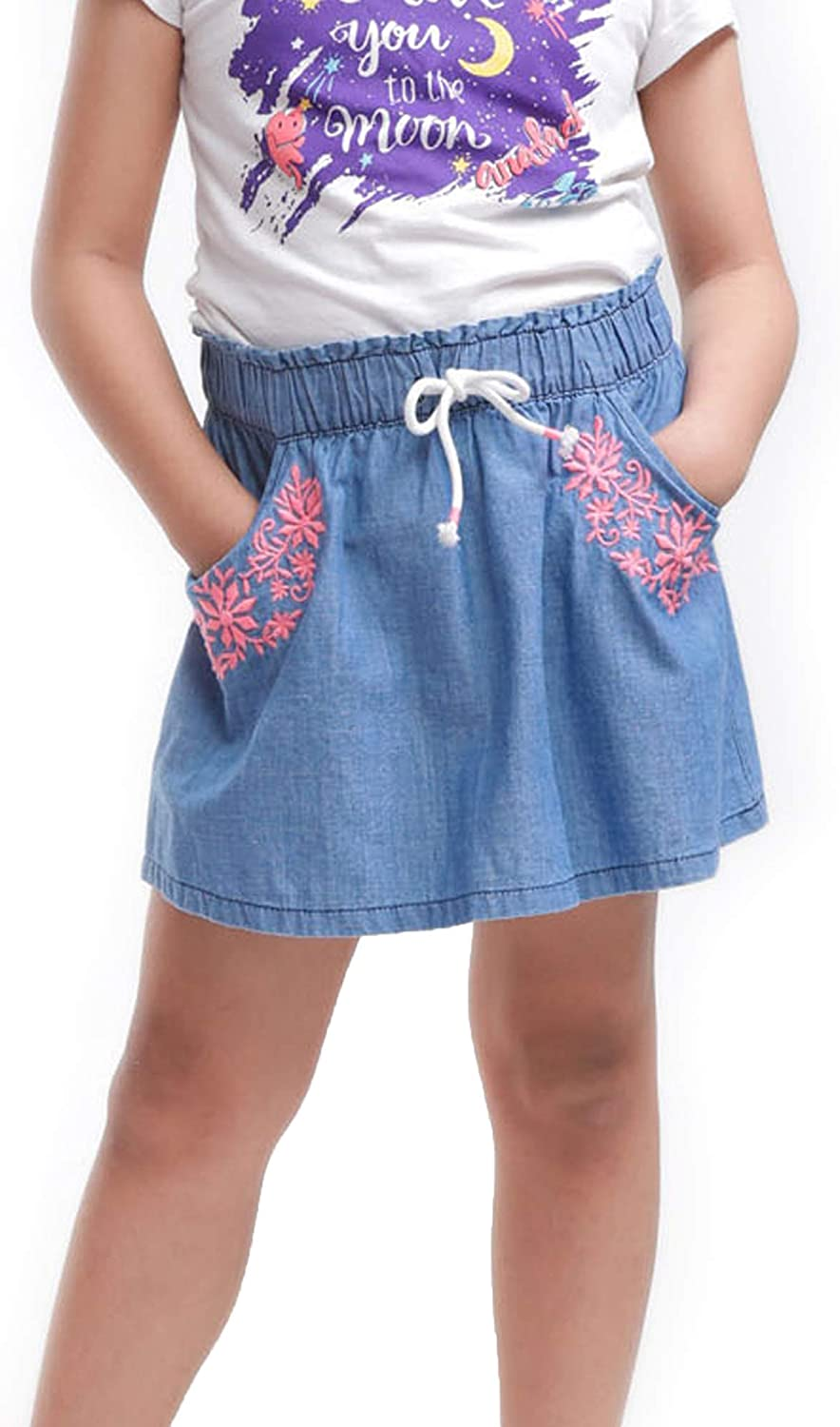 M.D.K Girls Lovely Colorful Stripes Easy Pull On Denim Jean Mini Skirt