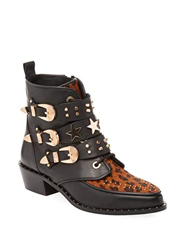 03063444afa4a Amazon.com | Ivy Kirzhner Steampunk Natural Cheeta Leopard Pointed Toe  Buckle Studs and Stars Bootie | Boots
