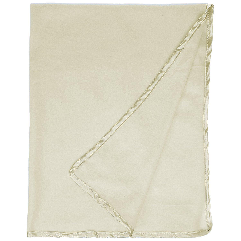 Babydoll Bedding 6 Piece Daycare Satin Trim Fleece Blankets, Ecru
