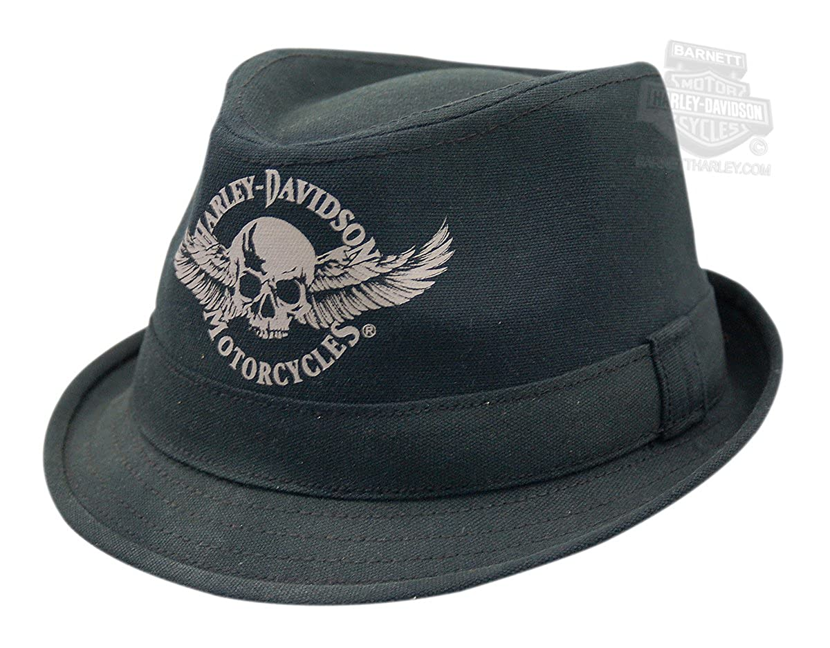 86eaeeb6 Harley-Davidson Fedora Black Skull Wings Hat Hd-437 Canvas - LG/XL at  Amazon Men's Clothing store: