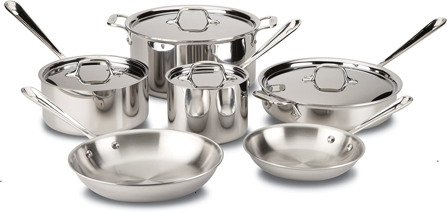 Pots and Pans, Tri-Ply Stainless Steel, Professional Grade, 10-Piece