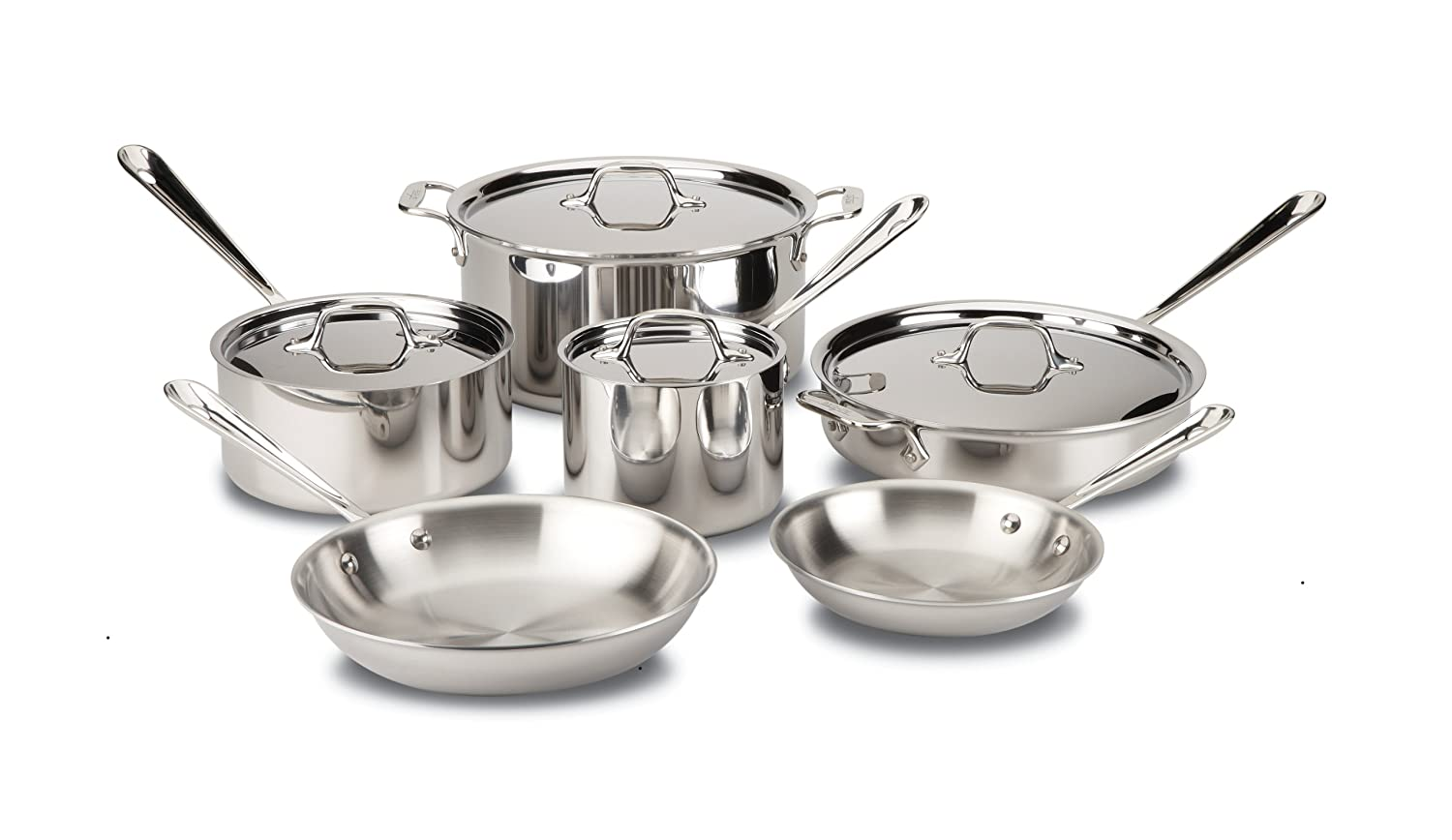 All-Clad Stainless steel Tri-ply 10-piece Silver Cookware set