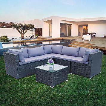 Hengda® Muebles de Jardín Modular Ratán Mueble juego de sofá Jardín ...