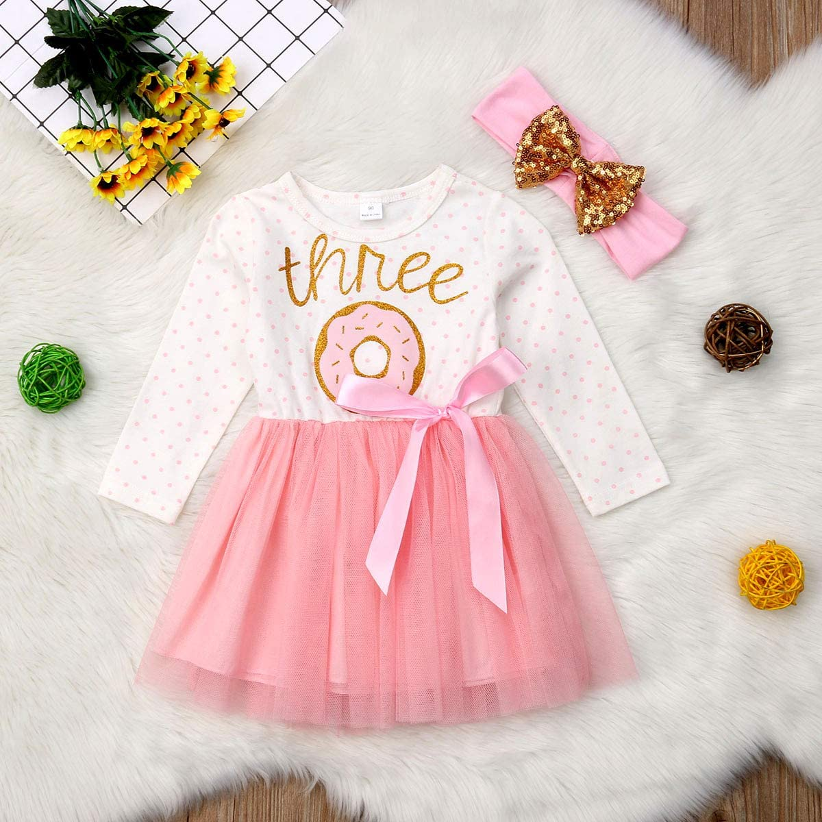 West Sweety Baby Girls Donut Printed Pink Tutu Birthday Dress Tulle Princess Dress with Gold Sequins Headband 2Pcs Outfits